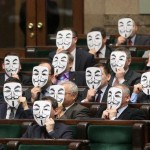 Polish MPs Wearing Guy Fawkes masks