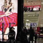 Shoppers rest inside Victoria Secret store at middle Manhattan in New York