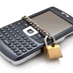 Blocked mobile phone with a chain and lock