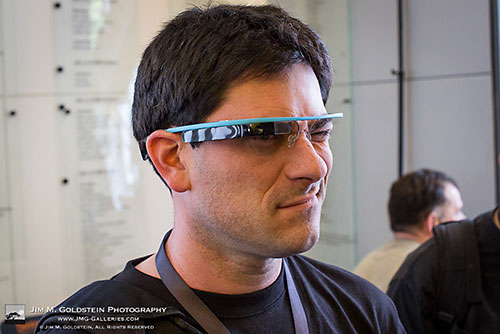 Jim M. Goldstein tries on a prototype of Google Glasses