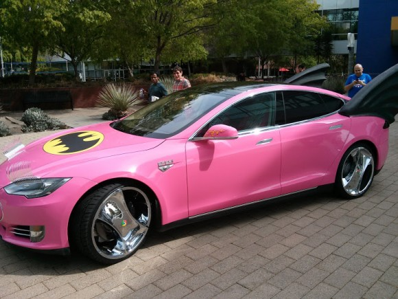 Sergey Brin Pink-Wrapped Batmobile Tesla 01