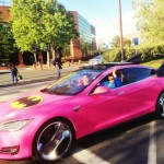 Sergey Brin Pink-Wrapped Batmobile Tesla 3