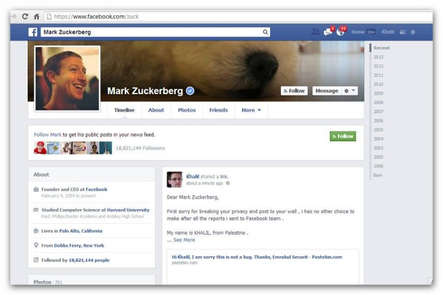 Khalil posted on Mark Zuckerberg Facebook Account