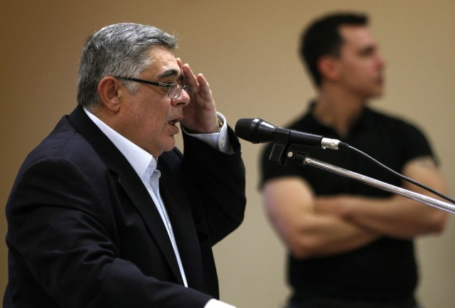 Image: File photo shows leader of far-right Golden Dawn party Mihaloliakos addressing an election campaign rally in Perama