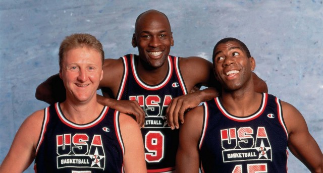 Larry-Bird-Michael-Jordan-and-Magic-Johnson-in-a-photo-shootout-for-92-Olympics-1992