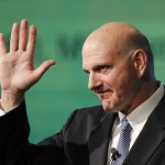 Microsoft CEO Steve Ballmer greets the audience before he delivers a speech at the 2012 Seoul Digital Forum in Seoul