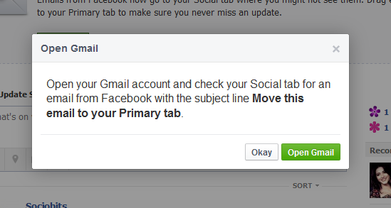 Facebook gmail notification