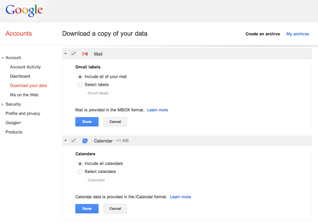 Google Download a copy of your Gmail data