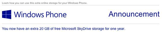 SkyDrive Windows Phone 20GB bonus