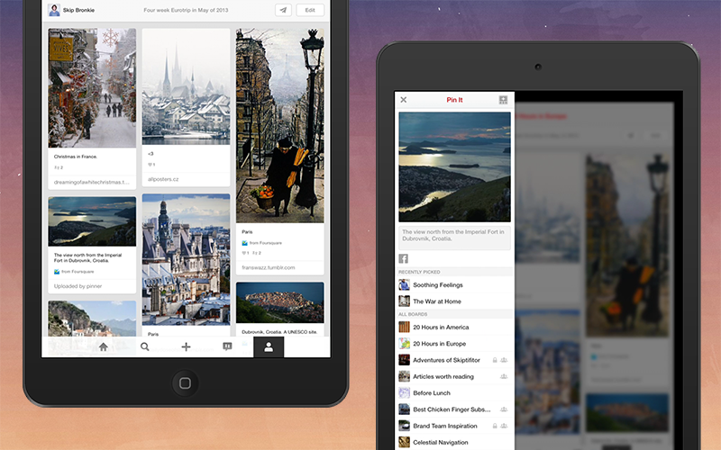 pinterest iPad app for iOS 7