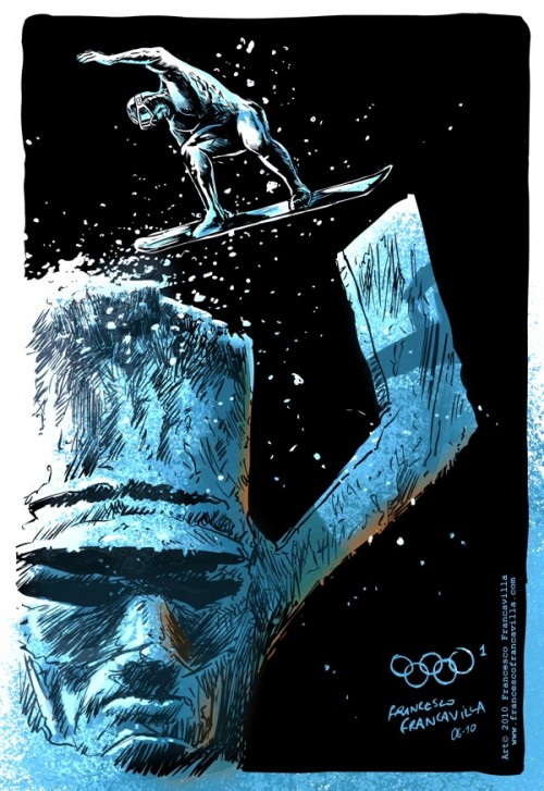 Francesco-Francavilla-The-Winter-SUPER-Olympics-Silver-Surfer-500x727