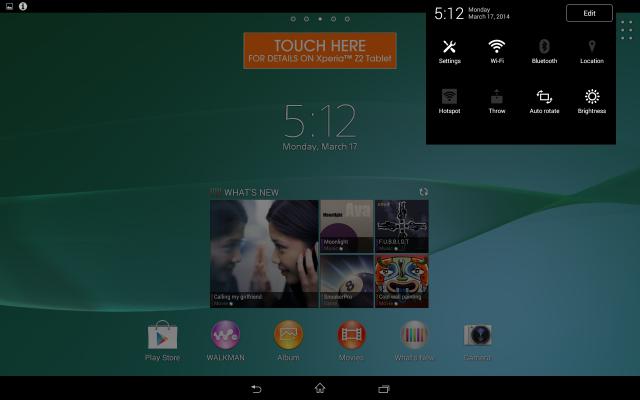 Xperia Z2 tablet menu (2)