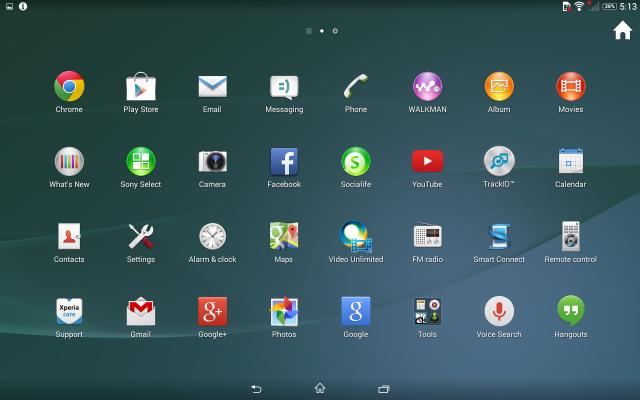 Xperia Z2 tablet menu