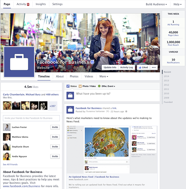 new facebook pages 2014