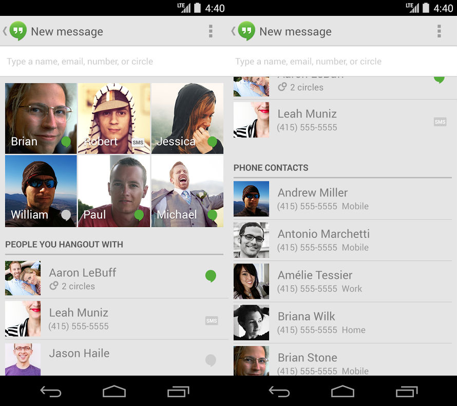 hangouts app for android merges chat and sms messages