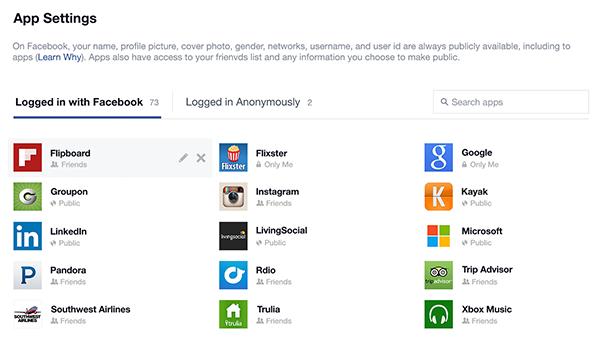 Facebook App Control Panel