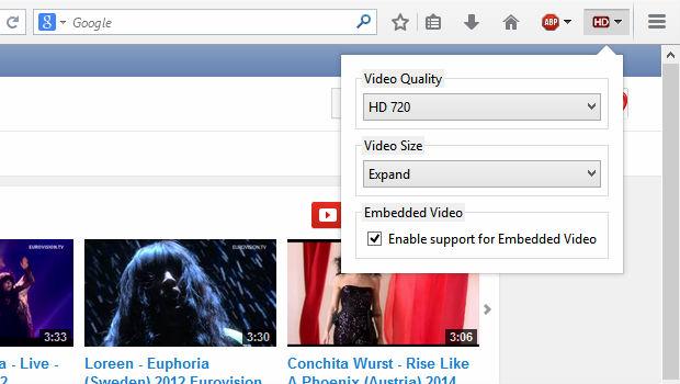 YouTube High Definition mozilla firefox