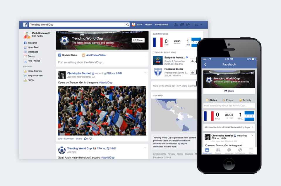 facebook trending world cup