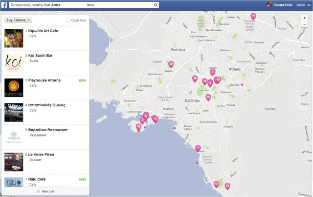 Facebook graph search restaurants