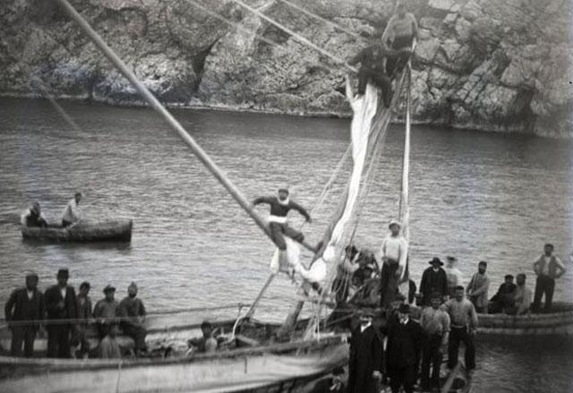 Φωτογραφία από το 1900 με τους σφουγγαράδες από τη Σύμη στο σημείου του ναυαγίου των Αντικυθήρων.