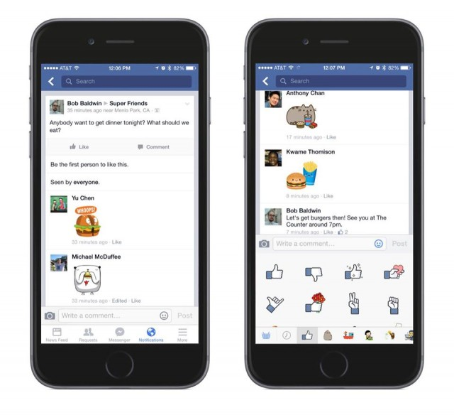 Facebook Stickers in Comments