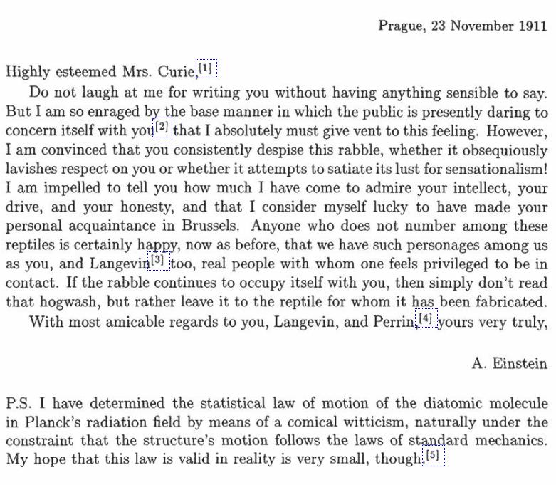 Albert Einstein was giving Marie Curie advice