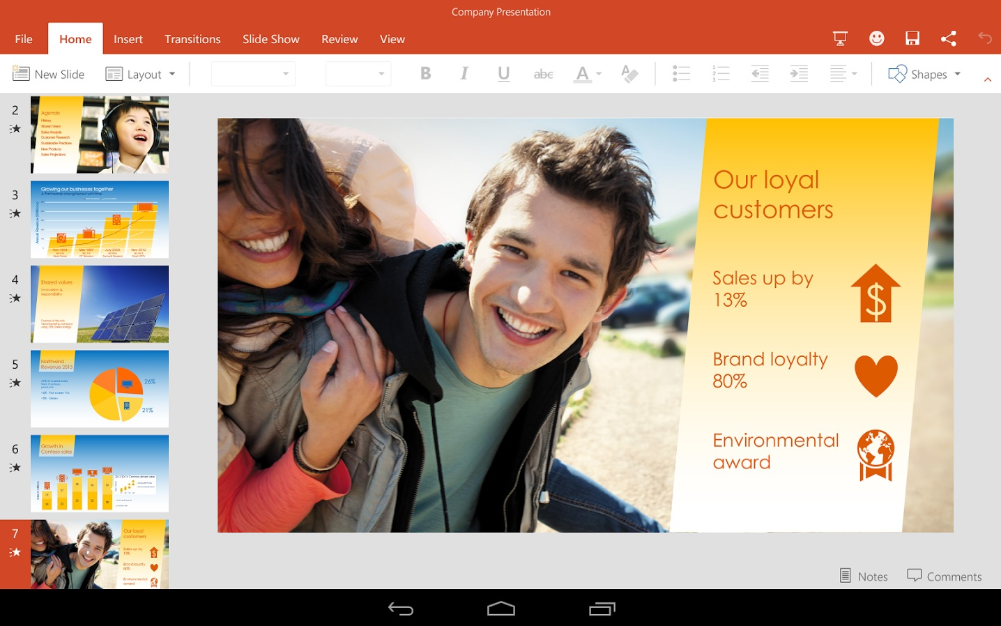 MS Office PowerPoint for Android Tablets