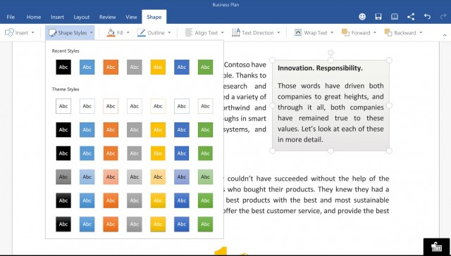 MS Office Word for Android Tablets