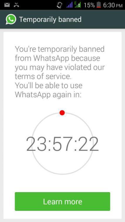 whatsapp 24 hours ban