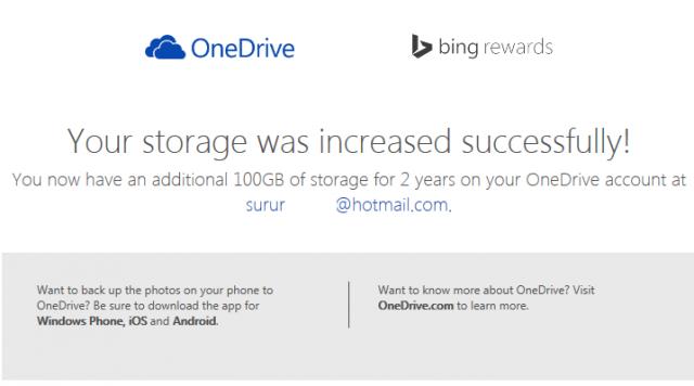 100 GB free OneDrive Bing Rewards
