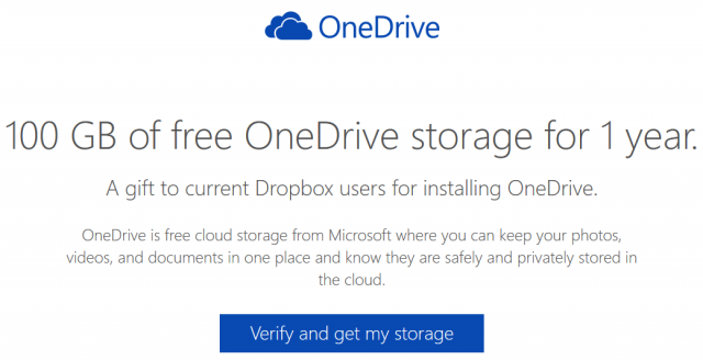 100 GB free OneDrive storage for Dropbox users
