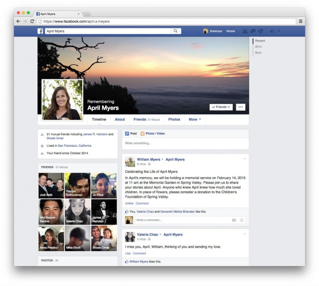 Facebook memorilized profile