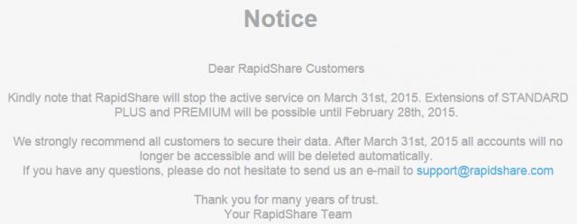 RIP RapidShare announcement