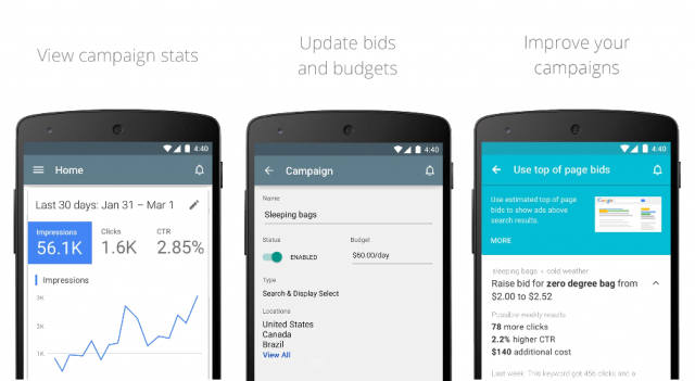 Google AdWords app for Android
