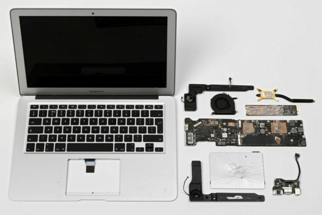 destroyed macbook air piece of art
