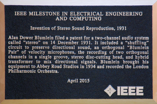The plaque at Abbey Road honouring Alan Blumlein