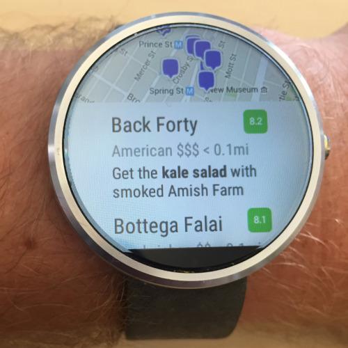 Εφαρμογή του Foursquare για Android Wear