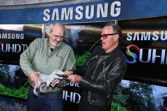 HOLLYWOOD, CA - JUNE 09:  Actor Peter Fonda (L) and Paleontologist consultant Jack Horner poses in front of Samsung's SUHD TVs at the premiere of Jurassic World at Dolby Theatre on June 9, 2015 in Hollywood, California.  (Photo by Jonathan Leibson/Getty Images for Samsung)