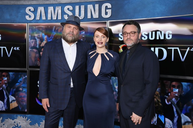 HOLLYWOOD, CA - JUNE 09:  (L-R) Actors Vincent D'Onofrio, Bryce Dallas Howard and Writer/Director Colin Trevorrow pose in front of Samsung's SUHD TVs at the premiere of Jurassic World at Dolby Theatre on June 9, 2015 in Hollywood, California.  (Photo by Jonathan Leibson/Getty Images for Samsung)