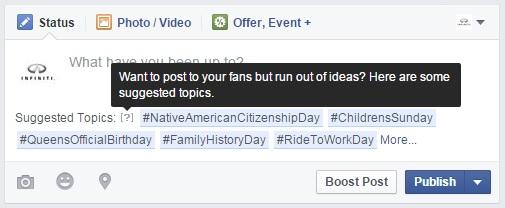 Facebook προτεινόμενα topics