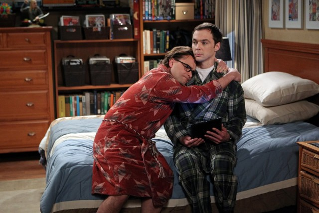 """The Proton Transmogrification"" -- Professor Proton helps Sheldon (Jim Parsons, right) cope with grief, while Leonard (Johnny Galecki, left) turns a relationship milestone into a competition with Penny, on THE BIG BANG THEORY, Thursday, May 1 (8:00-8:31 PM, ET/PT) on the CBS Television Network.  Photo: Sonja Flemming/CBS ©2014 CBS Broadcasting, Inc. All Rights Reserved"