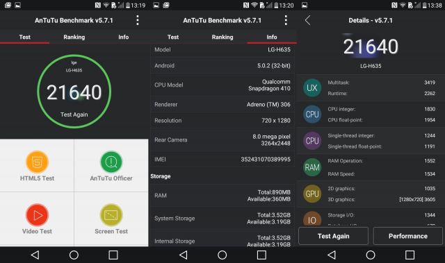 LG G4 Stylus Antutu Benchmarking