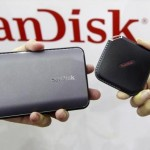 Sandisk's new portable solid state drives are displayed at the Sandisk booth during the 2015 Computex exhibition at the TWTC Nangang exhibition hall in Taipei, Taiwan, June 2, 2015. Computex, the world's second largest computer show, runs from June 2 to 6. REUTERS/Pichi Chuang