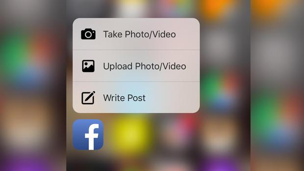 3d touch facebook app