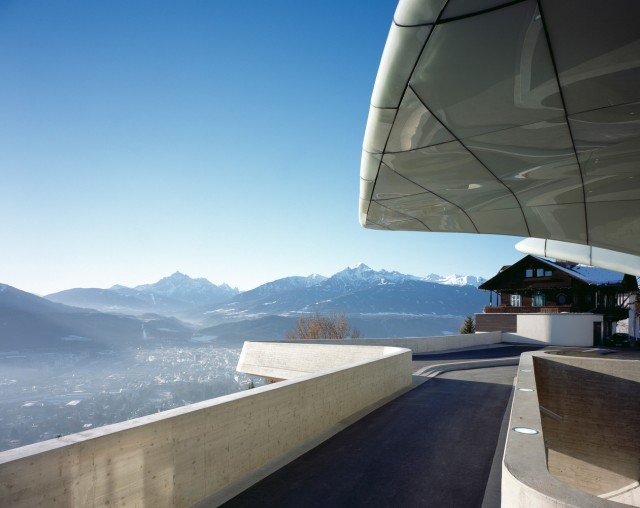Hungerburgbahn Stations, Innsbruck, Austria, Architect Zaha Hadid, 2008, Hungerburgbahn Station Exterior View With Snow Capped Alps. (Photo by View Pictures/UIG via Getty Images)