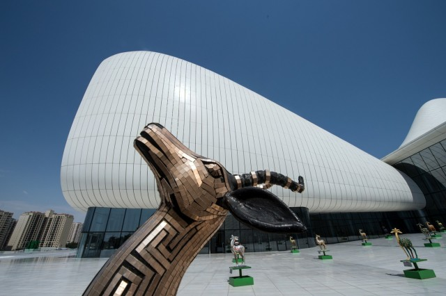 The Heydar Aliyev Cultural Center in Baku , Azerbaijan