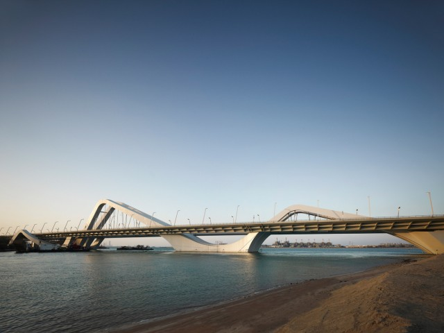 Sheikh Zayed Bridge, Zaha Hadid, Abu Dhabi, United Emirates, 2010, Daytime Elevation Of Main Span Linking Abu Dhabi Island With Gulf South Shore, Zaha Hadid, United Arab Emirates, Architect, (Photo By View Pictures/UIG via Getty Images)
