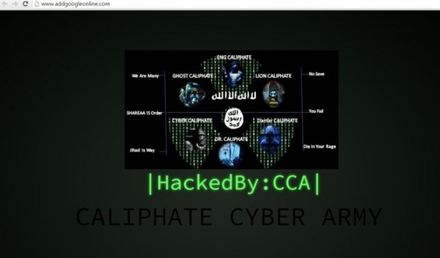 The homepage of Add Google Online displaying a message from the Caliphate Cyber Army