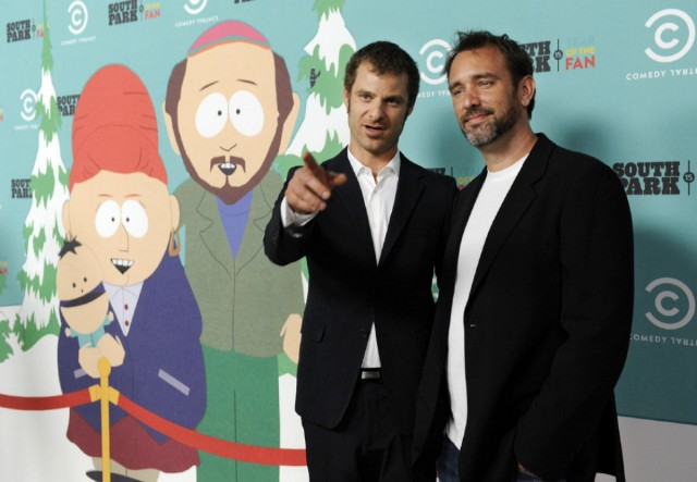 "Matt Stone, left, and Trey Parker, co-creators of ""South Park,"" pose together at the 15th anniversary party for the animated television series, Tuesday, Sept. 20, 2011, in Santa Monica, Calif. (AP Photo/Chris Pizzello)"