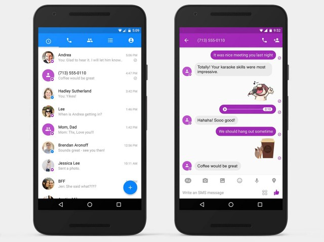 facebook messenger app SMS android